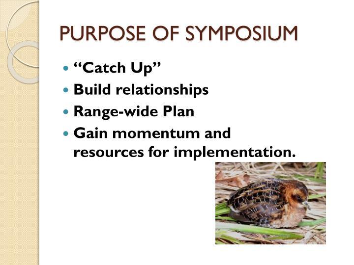 PURPOSE OF SYMPOSIUM