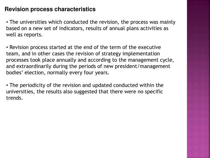 Revision process characteristics