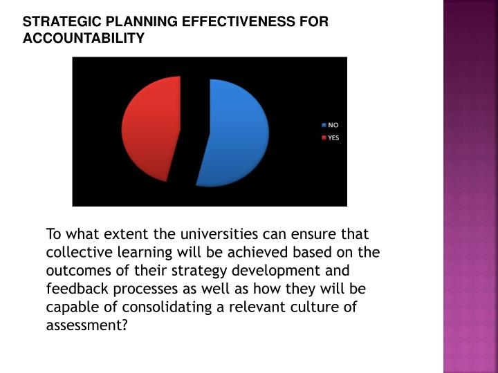STRATEGIC PLANNING EFFECTIVENESS FOR ACCOUNTABILITY