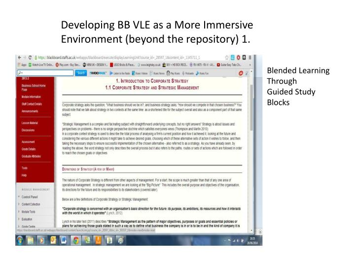 Developing BB VLE as a More Immersive Environment (beyond the repository) 1.