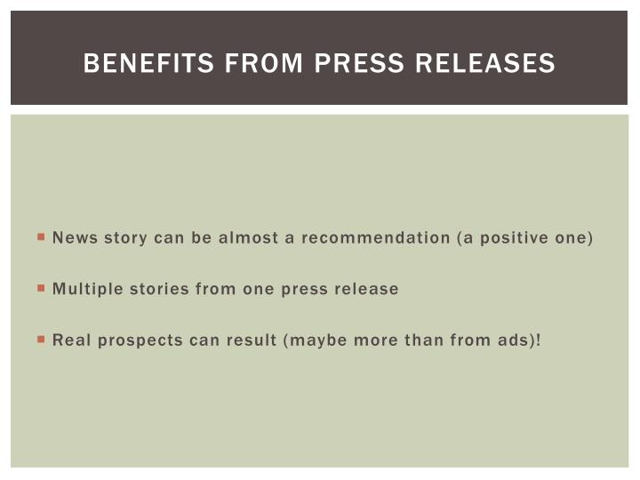 BENEFITS FROM Press Releases