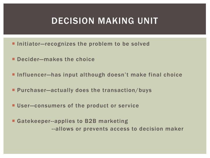 Decision Making Unit