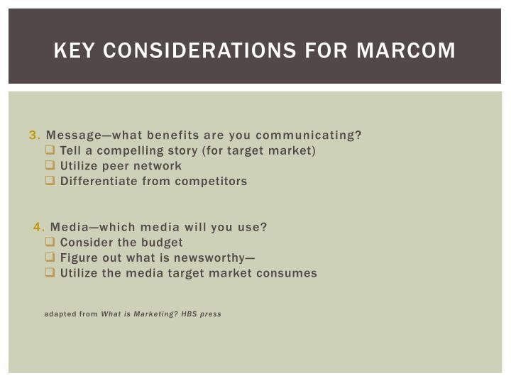 Key considerations for MARCOM