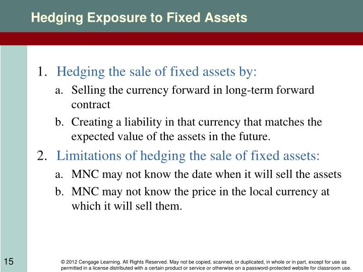 Hedging Exposure to Fixed Assets