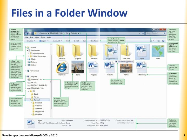Files in a folder window