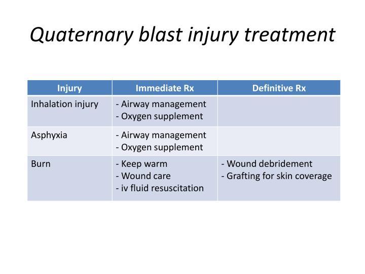 Quaternary blast injury treatment