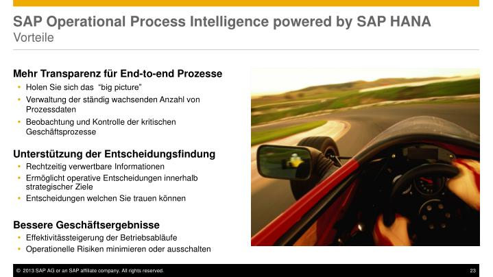 SAP Operational Process Intelligence powered by SAP HANA