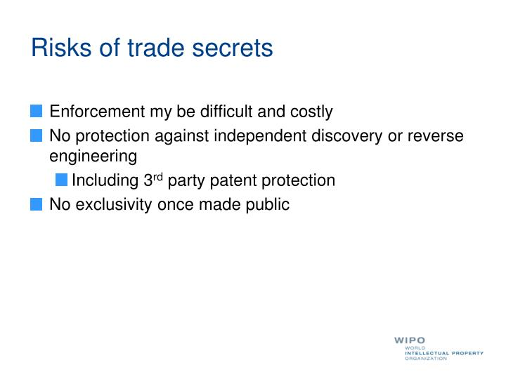 Risks of trade secrets