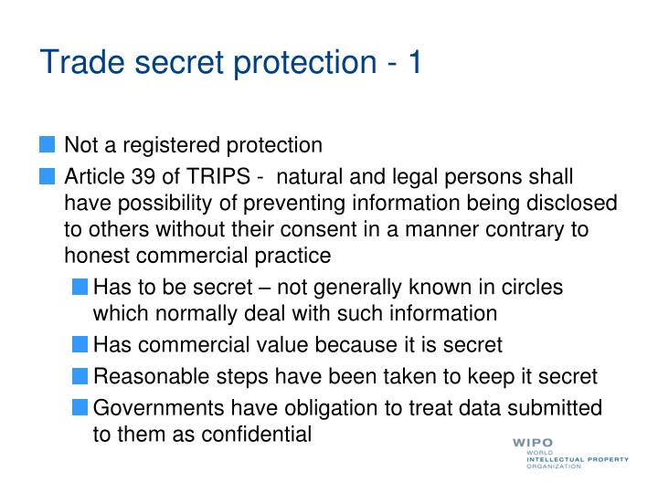 Trade secret protection - 1