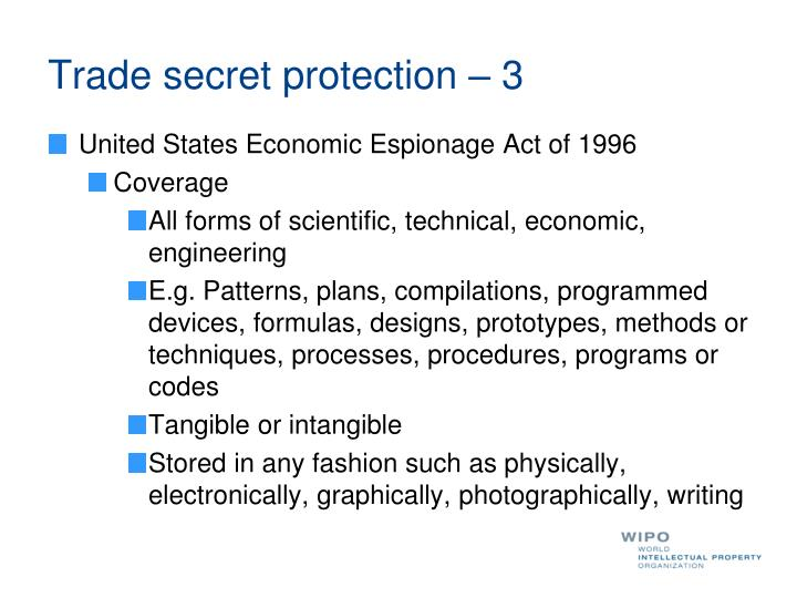 Trade secret protection – 3
