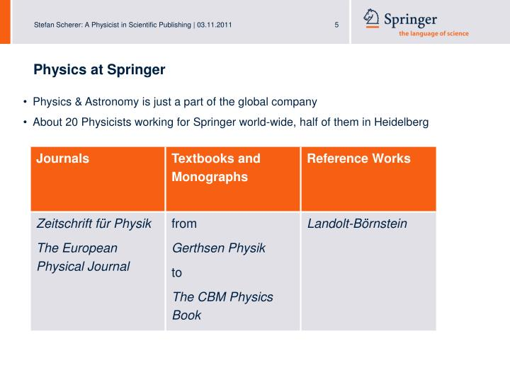 Physics at Springer