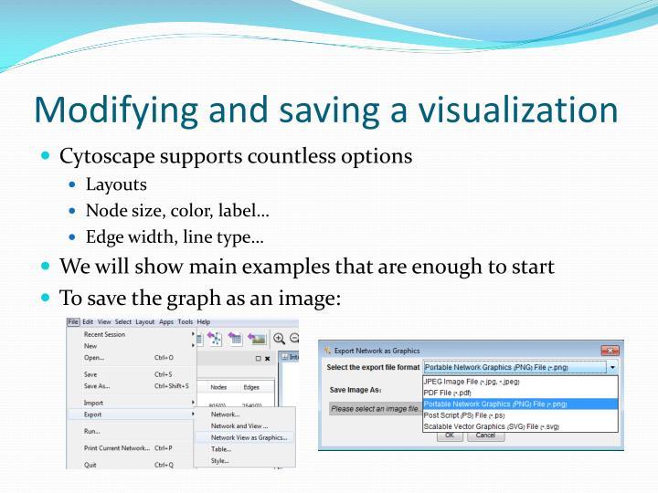 Modifying and saving a visualization