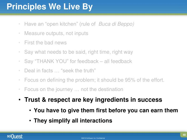 Principles We Live By
