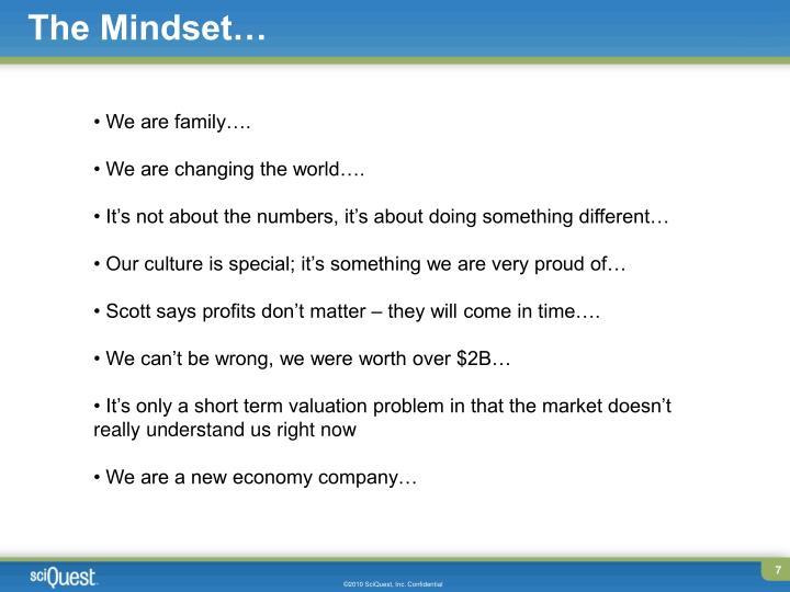 The Mindset…