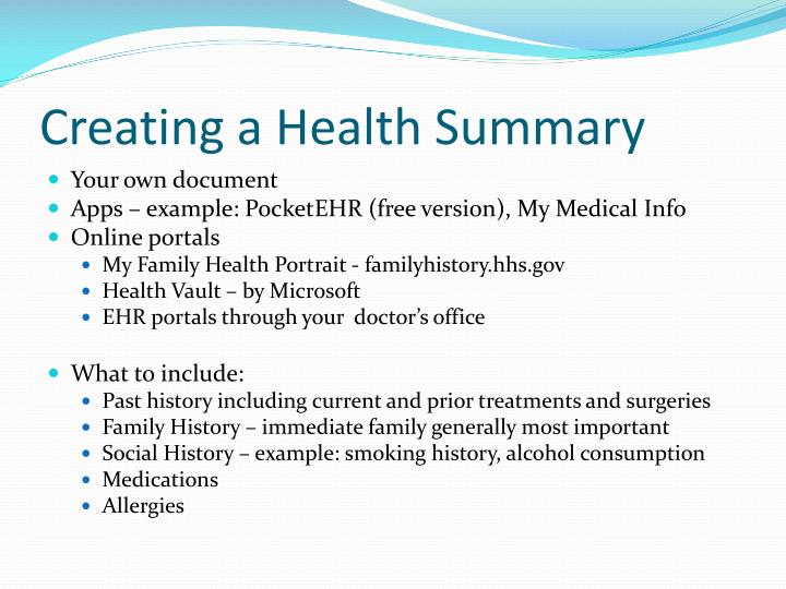 Creating a Health Summary
