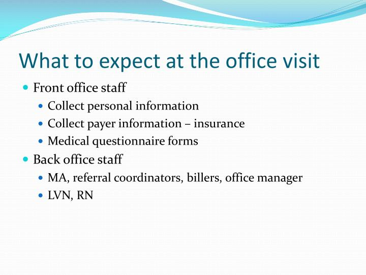 What to expect at the office visit