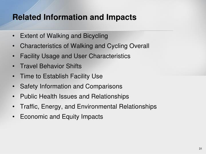 Related Information and Impacts