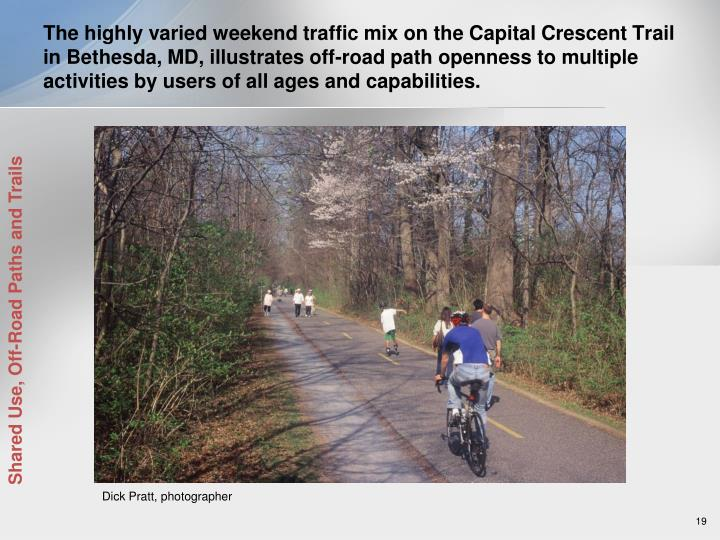 The highly varied weekend traffic mix on the Capital Crescent Trail in Bethesda, MD, illustrates off-road path openness to multiple activities by users of all ages and capabilities.