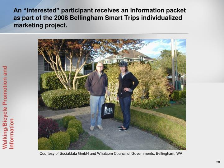"An ""Interested"" participant receives an information packet as part of the 2008 Bellingham Smart Trips individualized marketing project."