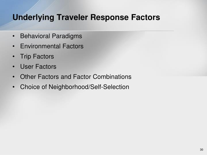 Underlying Traveler Response Factors