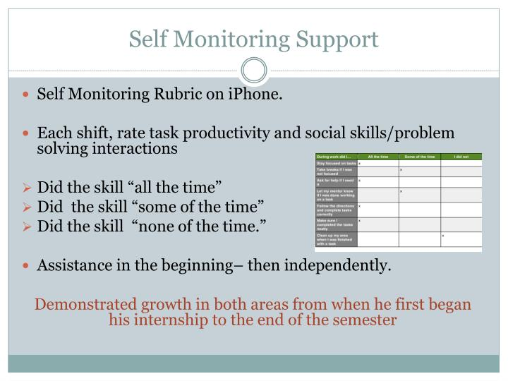Self Monitoring Support