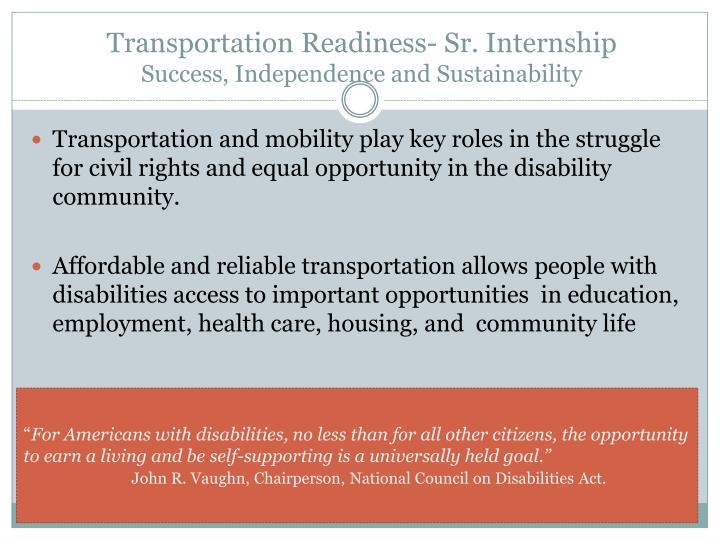 Transportation Readiness- Sr. Internship