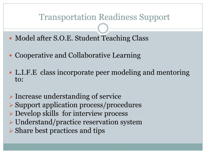 Transportation Readiness Support