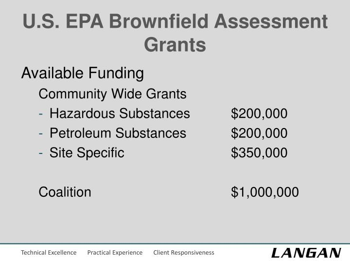 U.S. EPA Brownfield Assessment Grants