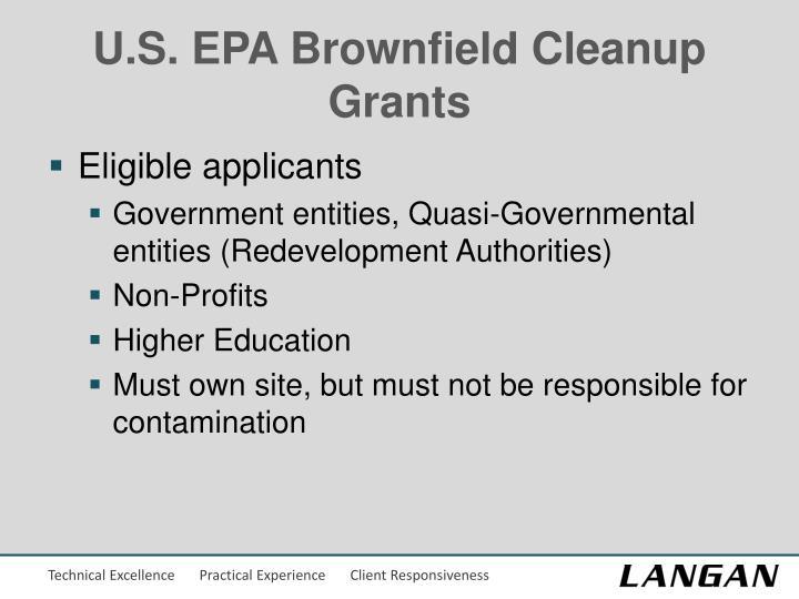 U.S. EPA Brownfield Cleanup Grants