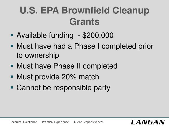 U.S. EPA Brownfield Cleanup Grants
