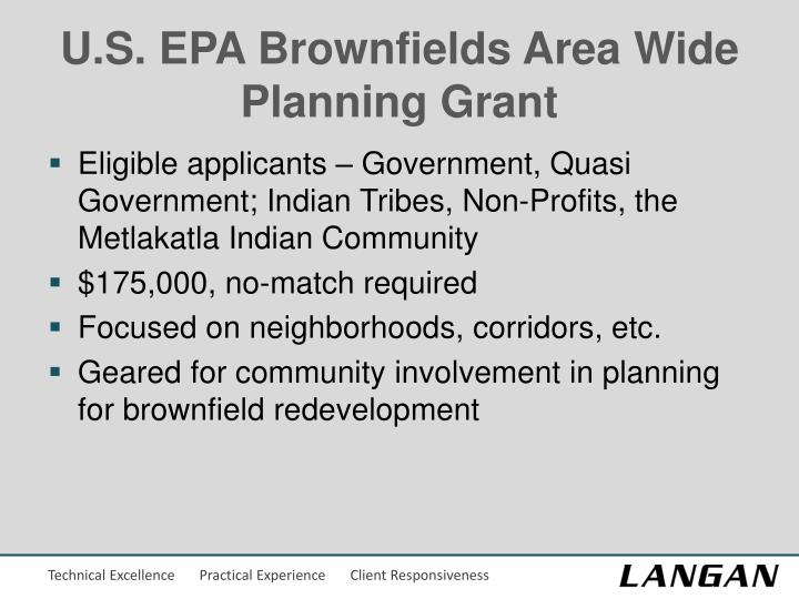 U.S. EPA Brownfields Area Wide Planning Grant