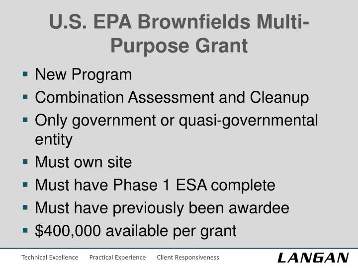 U.S. EPA Brownfields Multi-Purpose Grant