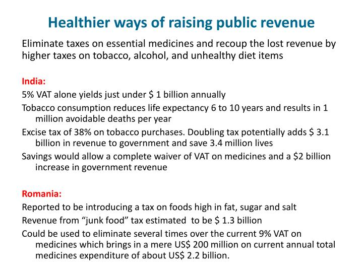 Healthier ways of raising public revenue