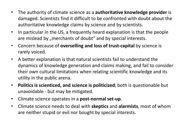The authority of climate science as a