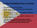 quality reliability time to market