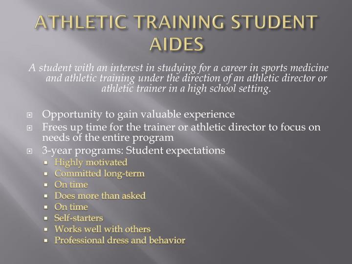 ATHLETIC TRAINING STUDENT AIDES