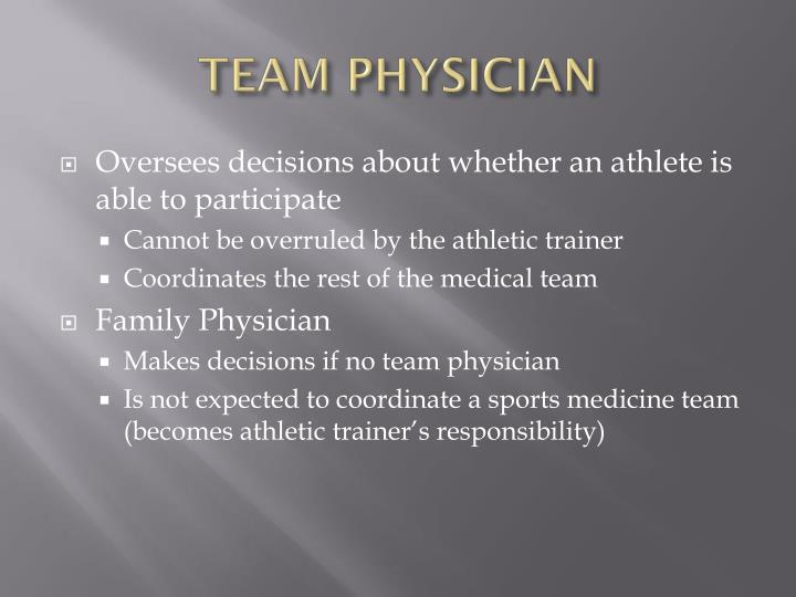 Team physician