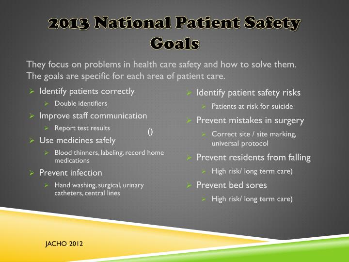 2011 national patient safety goals