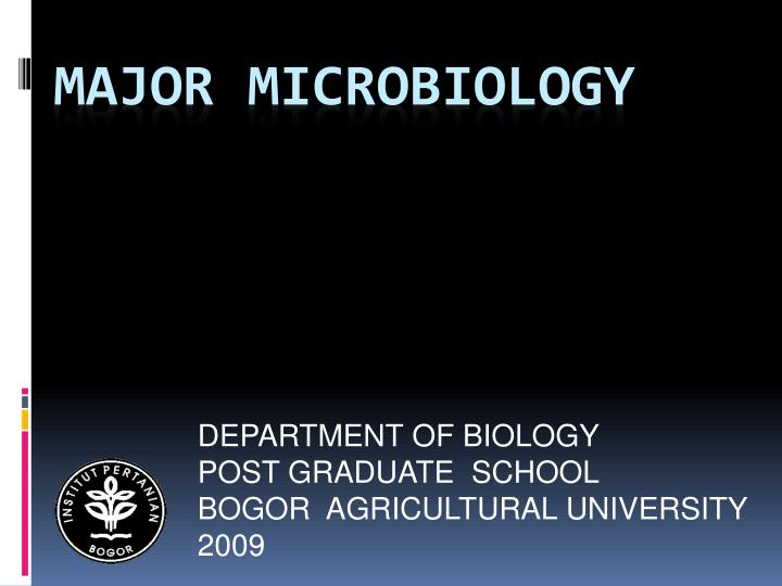 Department of biology post graduate school bogor agricultural university 2009
