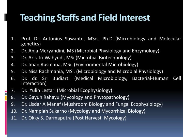 Teaching Staffs and Field Interest