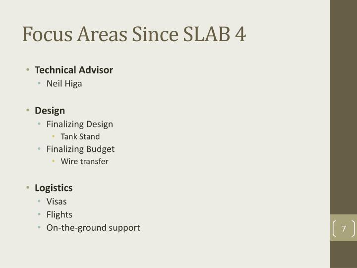 Focus Areas Since SLAB 4