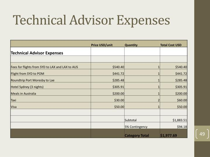 Technical Advisor Expenses