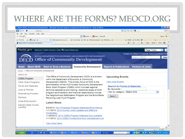 Where are the forms? Meocd.org