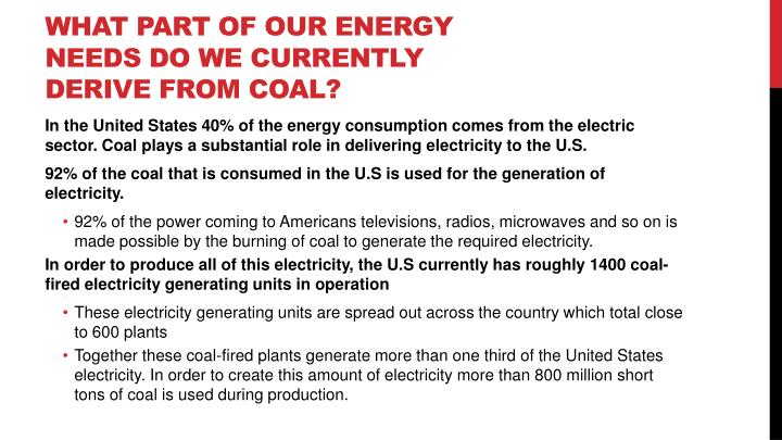 What part of our energy needs do we currently derive from