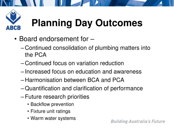 Planning Day Outcomes