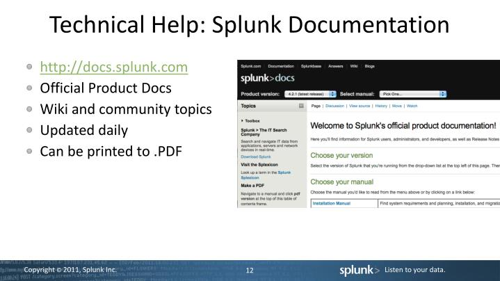 Technical Help: Splunk Documentation