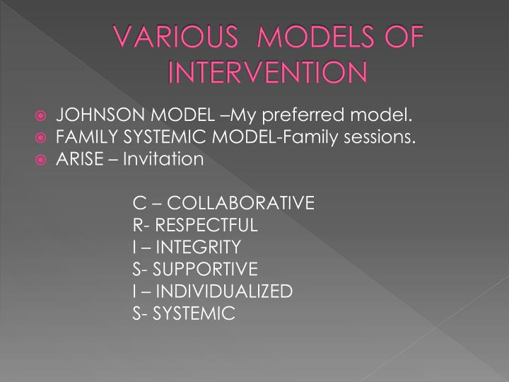 VARIOUS  MODELS OF INTERVENTION
