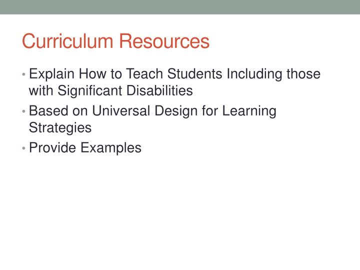 Curriculum Resources