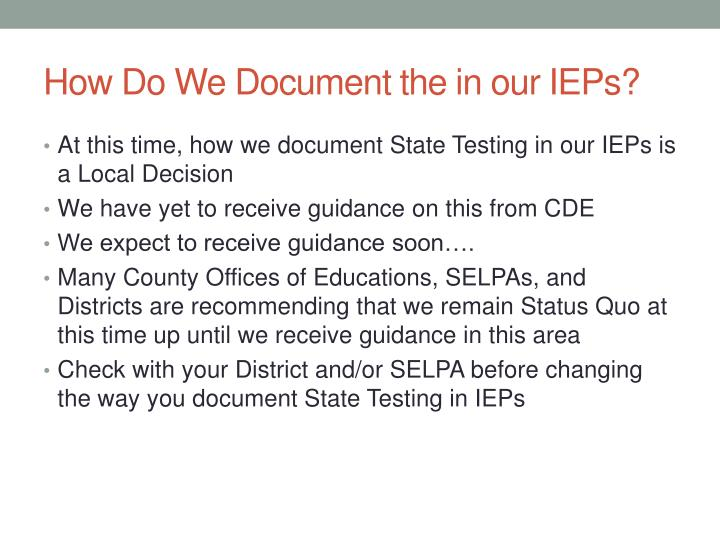 How Do We Document the in our IEPs?