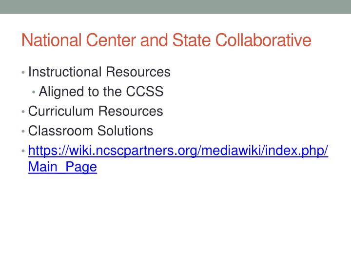 National Center and State Collaborative